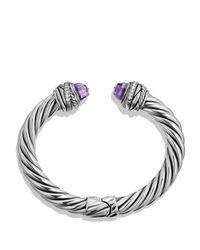 David Yurman Metallic Crossover Bracelet With Amethyst & Diamonds