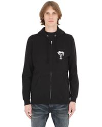 Stussy Black Hooded Zip-up Cotton Blend Sweatshirt