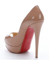 Christian Louboutin - Brown Lady Peep Patent Red Sole Pump - Lyst