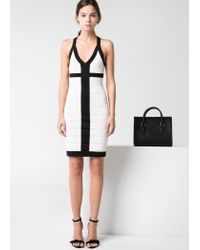 Mango White Monochrome Bodycon Dress