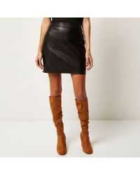 River Island - Black Leather Look Mini Skirt - Lyst