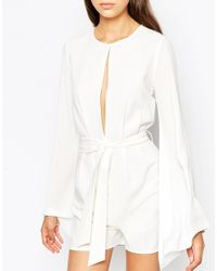 ASOS | White Tall Sheer Sleeve Playsuit With Tie Waist | Lyst