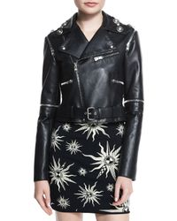 Fausto Puglisi - Black Zip-trimmed Leather Moto Jacket - Lyst