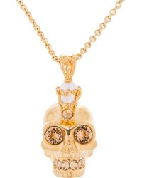 Alexander McQueen - Metallic Gold Pearl and Crystal Skull Punk Pendent Necklace - Lyst