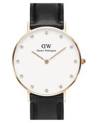 Daniel Wellington Metallic 'classy Sheffield' Crystal Index Leather Strap Watch
