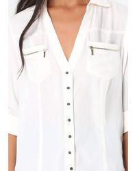 Bebe | White Zip Pocket Tunic | Lyst