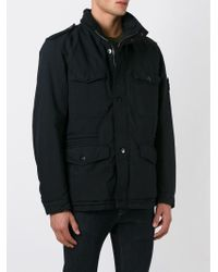 Stone Island - Black Buttoned Cargo Jacket for Men - Lyst