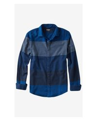 Express - Blue Flannel Mixed Stripe Shirt for Men - Lyst