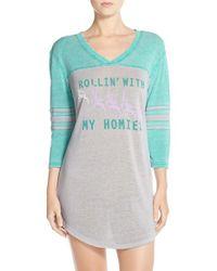 Honeydew Intimates | Blue 'varsitease' Cotton Blend Sleep Shirt | Lyst