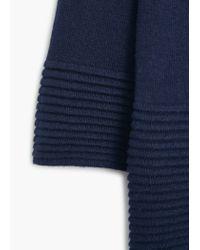 Mango - Blue Embossed Hem Cotton Sweater - Lyst