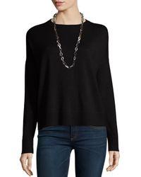 Eileen Fisher | Black Merino Jersey Box Top | Lyst