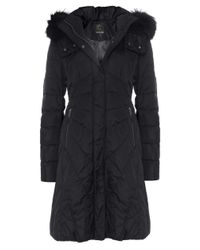 Creenstone - Black Eugenie Fur Trim Coat - Lyst