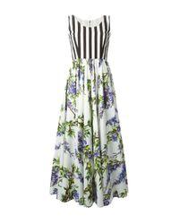 Dolce & Gabbana Multicolor Stripe And Wisteria Dress