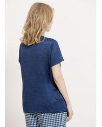 Violeta by Mango - Blue Detail Neck T-shirt - Lyst