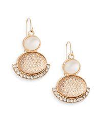 Carol Dauplaise - Metallic Double-oval Pavé-edge Earrings - Lyst
