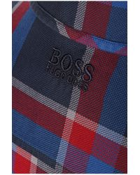 BOSS Green | Blue 'badru' | Regular Fit, Cotton Plaid Button Down Shirt for Men | Lyst
