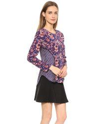 Veronica Beard Purple Floral Batik Print Seamed Long Sleeve Top - Plum Multi
