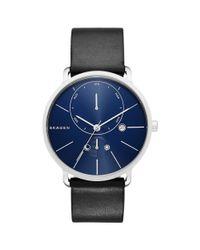 Skagen Blue Skw6241 Men's Hagen Stainless Steel Leather Strap Watch for men