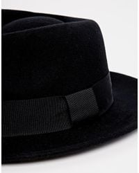 ASOS - Pork Pie Hat In Black Felt With Wide Brim for Men - Lyst