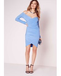 Missguided | Slinky Bardot Bodycon Dress Sky Blue | Lyst