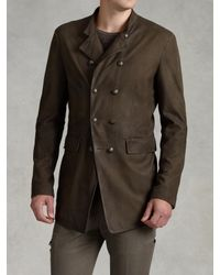 John Varvatos | Brown Double-breasted Goat Suede Coat for Men | Lyst