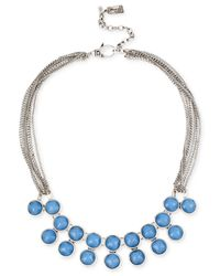 Kenneth Cole - Blue Silver-tone Round Stone Double Row Frontal Necklace - Lyst