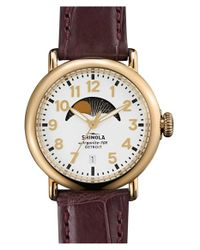 Shinola - Gray 'the Runwell' Moon Phase Leather Strap Watch - Lyst