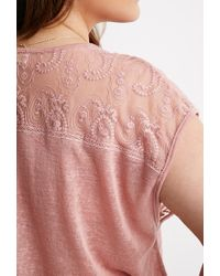 Forever 21 | Purple Plus Size Embroidered-mesh Slub Knit Top | Lyst