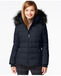 DKNY | Blue Hooded Down Puffer Parka Coat | Lyst