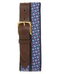 Vineyard Vines - Blue 'golf Bags' Canvas & Leather Belt for Men - Lyst