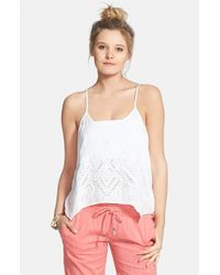 Volcom - White 'upstate' High/low Camisole - Lyst
