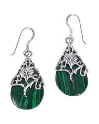 Aeravida - Floral Vine Ornated Teardrop Green Shell .925 Silver Earrings - Lyst
