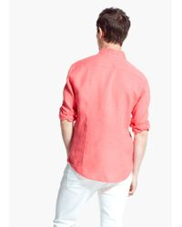 Mango Pink Slim-Fit Linen Shirt for men
