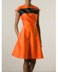 Carven - Orange Logo 'Mikado' Flared Dress - Lyst