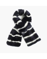 J.Crew | Blue Collection Faux-fur Striped Scarf | Lyst