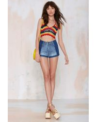 Nasty Gal - Multicolor Good Vibrations Crochet Cropped Halter Top - Lyst