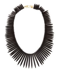 Kenneth Jay Lane - Graduated Spike Collar Necklace Black - Lyst