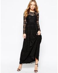 Y.A.S Black Mai Maxi Dress In Lace