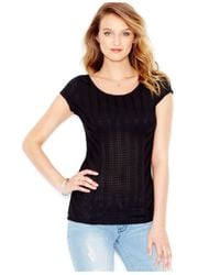 Guess | Black Cap-sleeve Shutter-stitch Top | Lyst