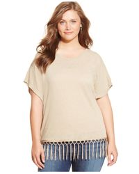 Style & Co. | Natural Plus Size Dolman-sleeve Fringed Top | Lyst