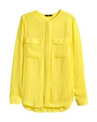 H&M | Yellow Airy Blouse | Lyst