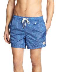 Moncler - Blue Floral Swim Trunks for Men - Lyst