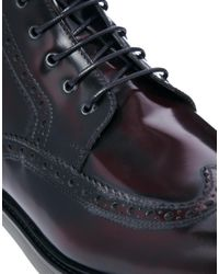 KG by Kurt Geiger Red Jeremiah Leather Brogue Boots for men