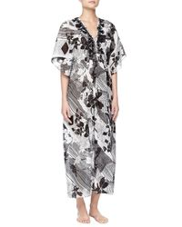 Oscar de la Renta - Black Twilight Garden Floral Embroidered Caftan Gown - Lyst