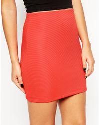 ASOS | Natural Pull On Rib Mini Skirt | Lyst