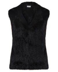Yves Salomon | Black Hooded Fur Gilet | Lyst