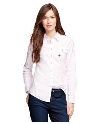 Brooks Brothers | Pink Supima® Cotton Oxford Stripe Shirt | Lyst