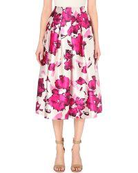 Oscar de la Renta - Purple Floral-print Silk Skirt - Lyst
