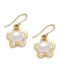 Macy's - Metallic Pearl Earrings, 14K Gold Cultured Freshwater Pearl Flower Drop Earrings - Lyst