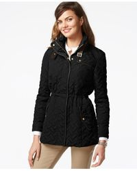 Cole Haan | Black Quilted Faux-leather-trim Jacket | Lyst